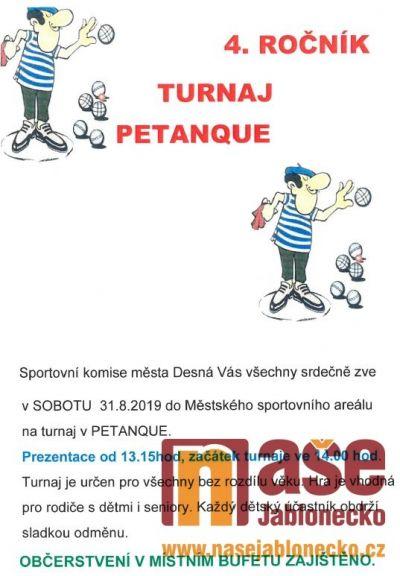 Čtvrtý ročník turnaje v petanque pořádají v Desné