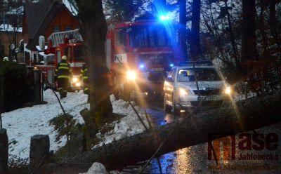 Vítr v Lučanech vyvrátil strom. Část města byla do večera bez proudu
