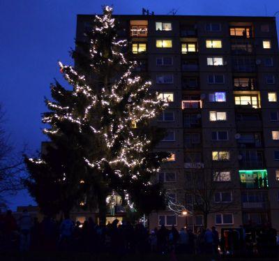Ve Mšeně rozsvítili vlastní vánoční strom