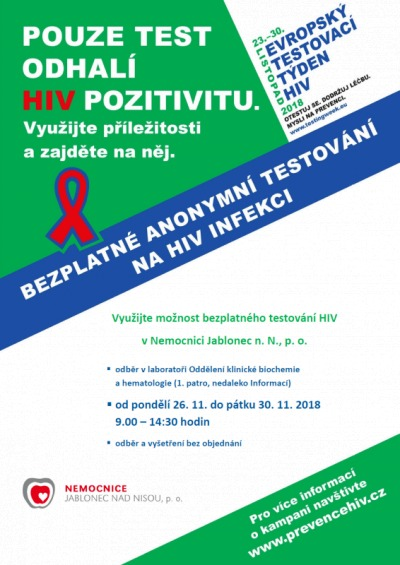 Bezplatné testování HIV bude i v jablonecké nemocnici