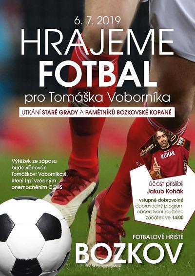 V Bozkově budou hrát fotbal pro Tomáška, přijede i Jakub Kohák