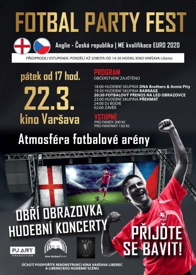 Kino Varšava zve na Fotbal Party Fest aneb souboj Česka s Anglií
