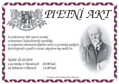 Pozvánka do Plavů na Pietní akt ke vzniku samostatné republiky