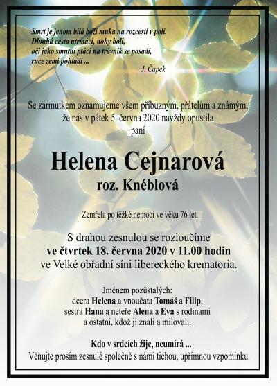 Navždy odešla liberecká výtvarnice Helena Cejnarová