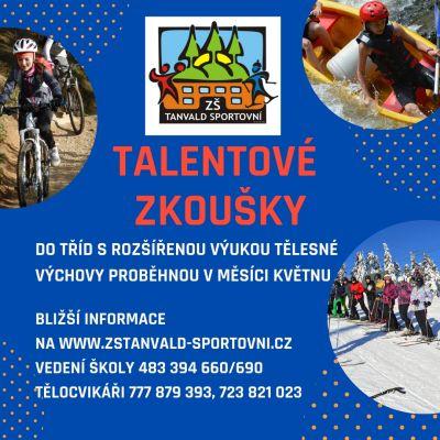 Pozvánka na talentové zkoušky do tanvaldské sportovky
