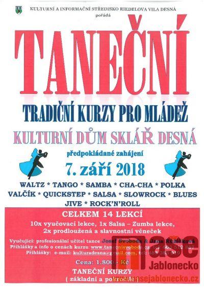 Taneční - kurzy pro mládež v Desné zahájí 7. září 2018