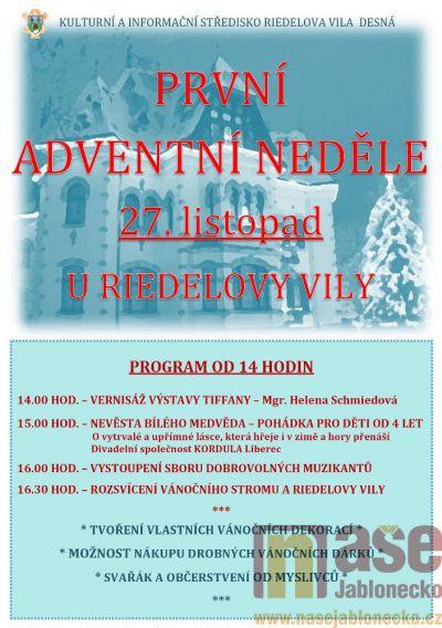 V neděli se rozsvítí vánoční strom u Riedelovy vily v Desné