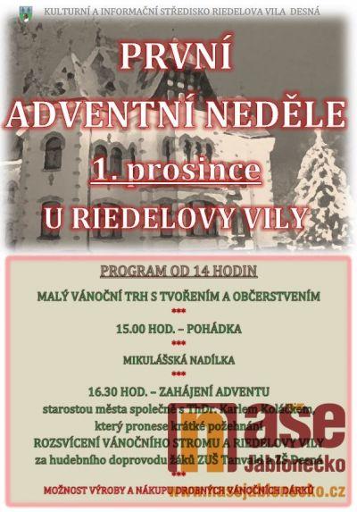 První adventní neděli přivítají i u Riedlovy vily v Desné