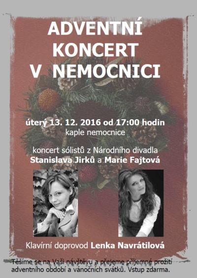 Na adventním koncertu v nemocnici zazpívají Jirků a Fajtová