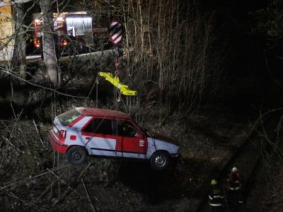 Škoda Felicie skončila na Smržovce pod strání v kolejišti