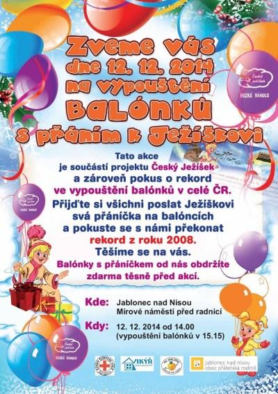 Přijďte poslat Ježíškovi balónek se svým přáním!
