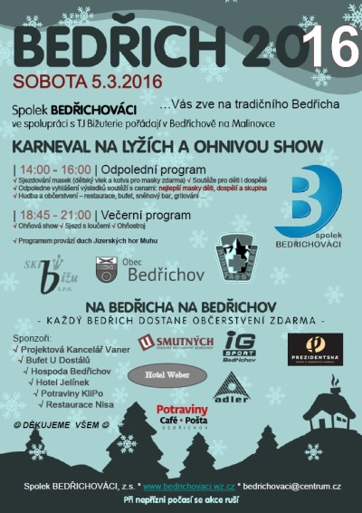 V Bedřichově na Malinovce pořádají karneval a ohňovou show