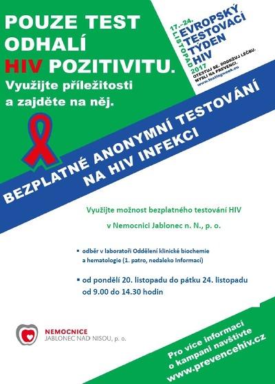Evropský testovací týden HIV nabídne možnost bezplatného testování