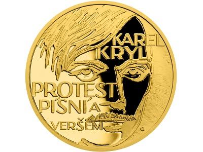 Česká mincovna na zlaté minci vyobrazila zpěváka Karla Kryla