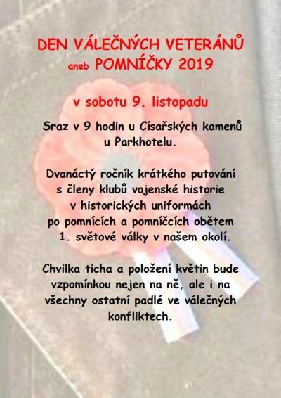 Den válečných veteránů aneb Pomníčky 2019