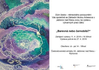 Výstava prací žáků z Arbesovky se jmenuje Barevná nebo černobílá?