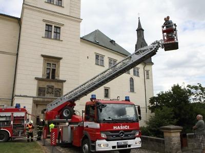 Taktické cvičení hasičů se odehrávalo na zámku Hrubý Rohozec