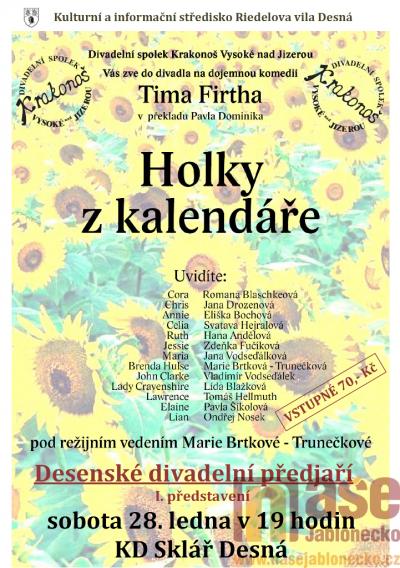 V Desné zvou na představení Holky z kalendáře