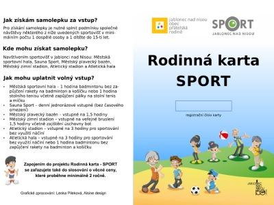Jablonec chce novou kartou vyzvat rodiny ke společnému sportování