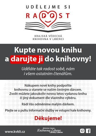 Krajskou knihovnu můžete podpořit zakoupením nové knihy