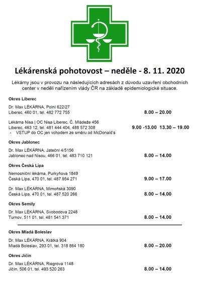 Vybrané lékárny v kraji budou mít opět otevřeno i v neděli 8. listopadu