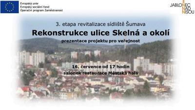 Město Jablonec představí upravený projekt ulice Skelná a okolí