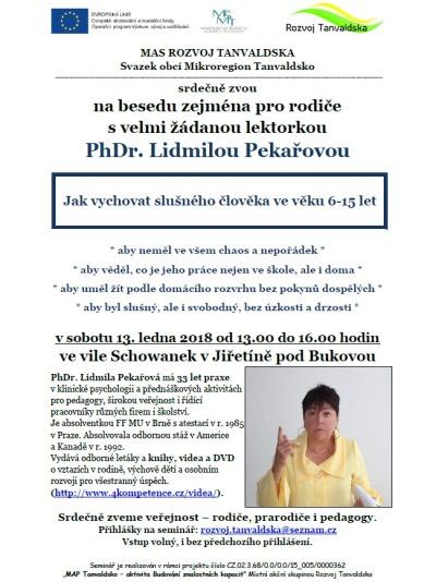 Mikroregion Tanvaldsko pořádá v Jiřetíně seminář s Lidmilou Pekařovou