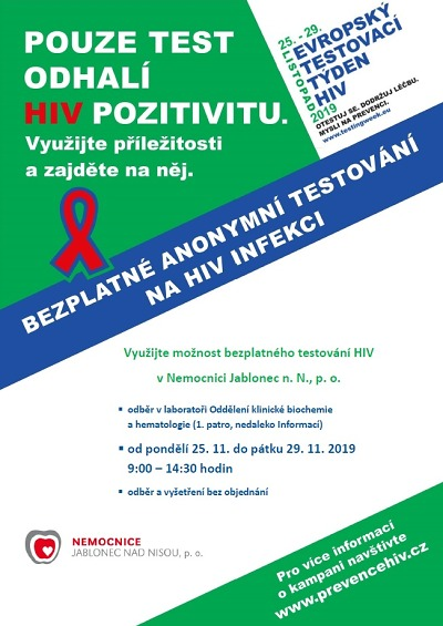 Bezplatné testování HIV bude v Jablonci od 25. do 29. listopadu