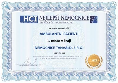 Nemocnice Tanvald první v kategorii Bezpečnost a spokojenost pacientů