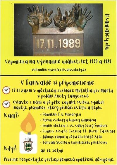 V Tanvaldě si připomenou události 17. listopadu