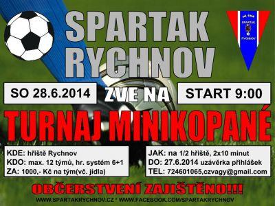 Spartak Rychnov zve na turnaj v malé kopané