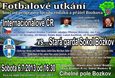 Fotbalové legendy Šmicer či Němec vyzvou starou gardu Bozkova