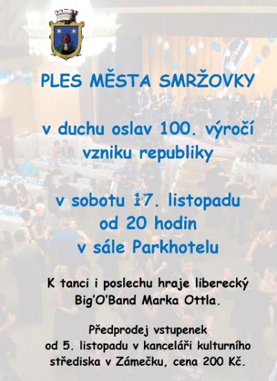 Město Smržovka pořádá ples s tématem oslav výročí republiky