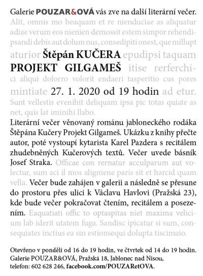 Literární večer v jablonecké galerii věnují románu Projekt Gilgameš