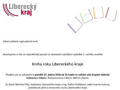 Slavnostně vyhlásí první ročník ankety Kniha roku Libereckého kraje