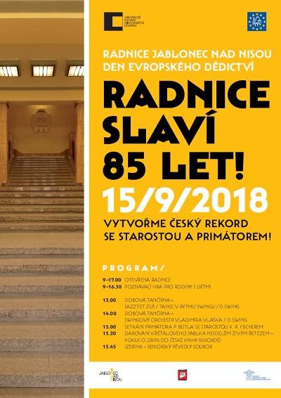 Jablonecká radnice v rámci Dne evropského dědictví oslaví 85 let
