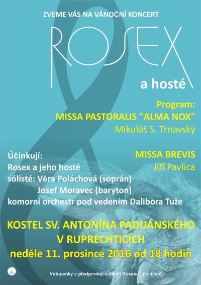 Vánoční koncert vokálního sdružení Rosex bude opět v Ruprechticích