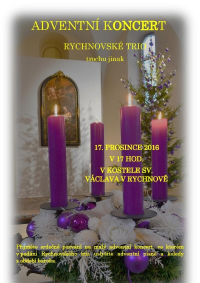 V kostele sv. Václava má adventní koncert Rychnovské trio