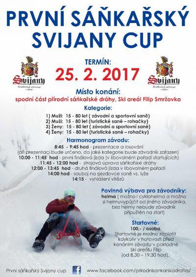 Svijany cup v jízdě na saních na přírodní dráze pořádají ve Smržovce
