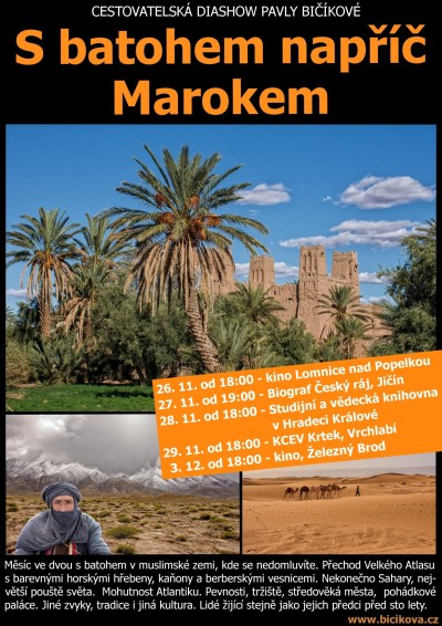 Pavla Bičíková bude povídat o své cestě S batohem napříč Marokem