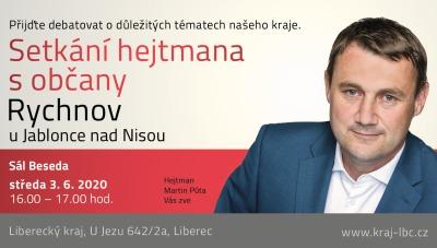 Hejtman Libereckého kraje Martin Půta přijede 3. června do Rychnova