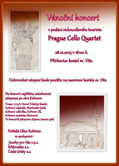 Vánoční koncert na Příchovicích obstará Prague Cello Quartet