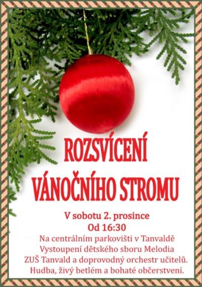 Vánoční strom v Tanvaldě rozsvítí opět na centrálním parkovišti