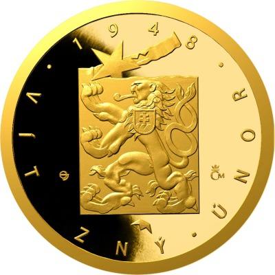Počátek totality vČeskoslovensku zachytili na zlaté minci