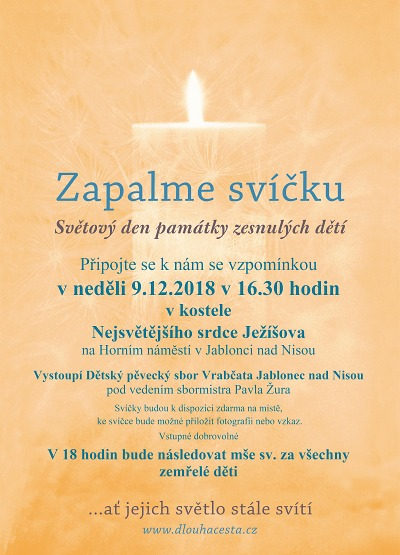 Světový den památky zesnulých dětí připomenou i v Jablonci