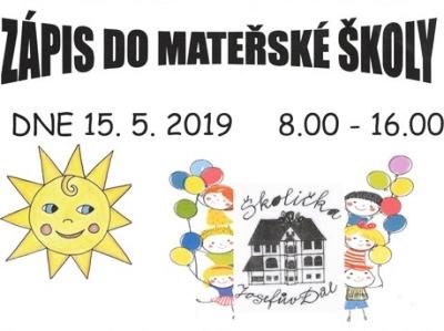 Zápis do Mateřské školy v Josefově Dole proběhne 15. května