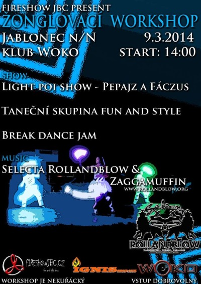 Fireshow JBC láká na další žonglovací workshop v klubu Woko