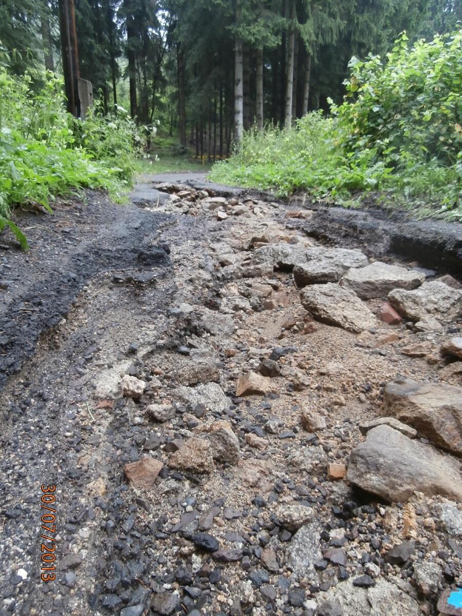 Poškozené silnice v Jablonci nad Nisou - Nový Svět