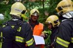 Prověřovací cvičení hasičů v Domově Harcov