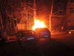 Požár automobilu v liberecké ulici Gorkého